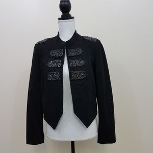 INC military style rhinestone jacket